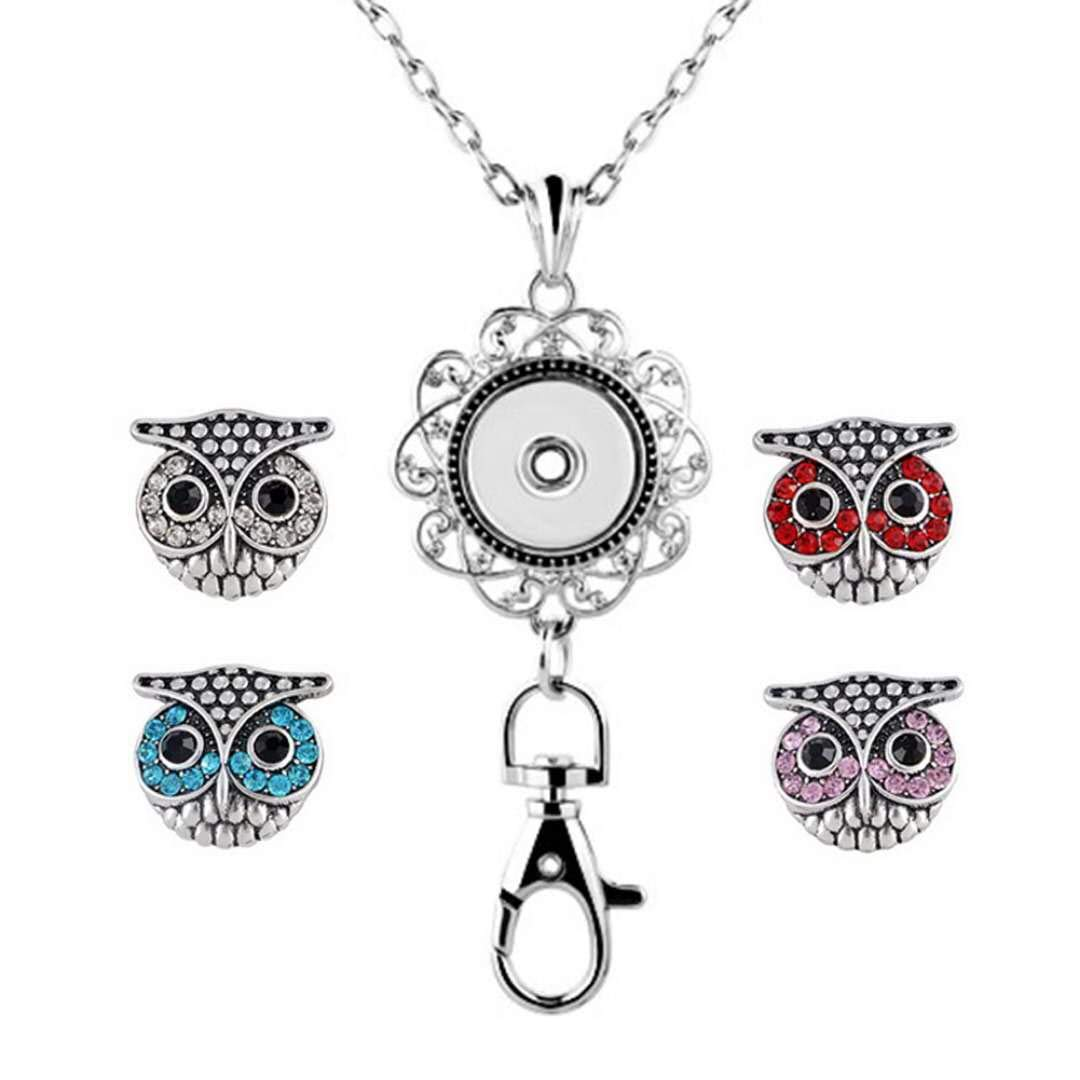 DH Love Crystal Cute Owl Snap Button Charms Animal Badge Holder Office Lanyard Keychain Jewelry for Women (Mixed-1)