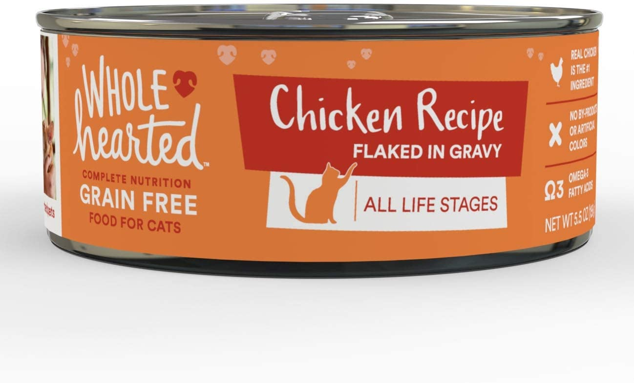 WholeHearted All Life Stages Canned Cat Food - Grain Free Chicken Recipe Flaked in Gravy, 5.5 OZ, Case of 12, 12 X 5.5 OZ