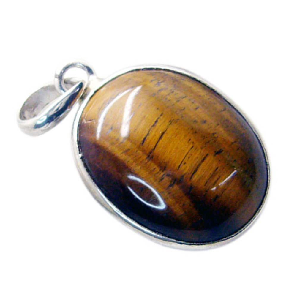 CaratYogi Natural Tiger Eye Sterling Silver Charms Oval Shape Stone Brown Color Astrological Pendant