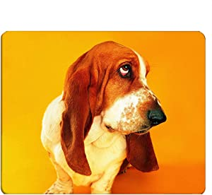 Nicokee Basset Gaming Mousepad Funky Face Funny Basset Hound Dog Mouse Pad Mouse Mat for Computer Desk Laptop Office 9.5 X 7.9 Inch Non-Slip Rubber