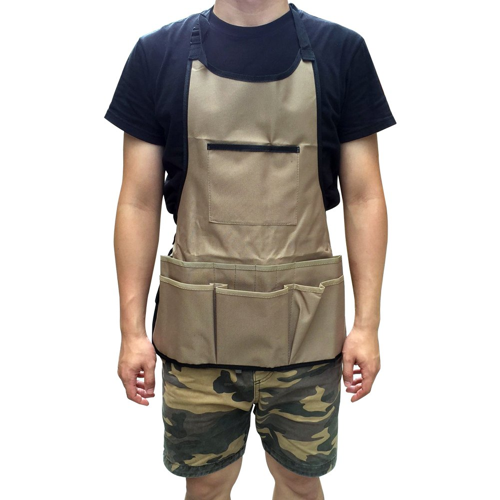 Multi-purpose Garden Tool Apron 600D Oxford Heavy Duty Work Aprons Waterproof Wear-resistant Grilling Tools Gardening Workers Apron with Tool Pockets and Adjustable Belt WQ12