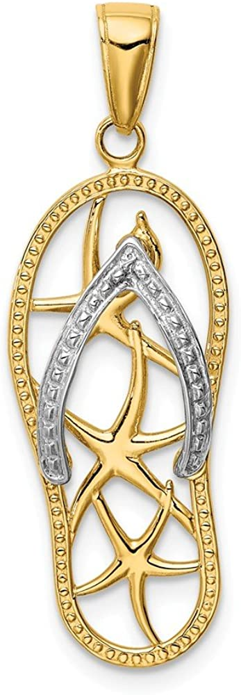 14k Yellow Gold Two Tone Starfish Flip Flop Pendant Charm Necklace Sea Shore Sal Fine Jewelry For Women Gifts For Her