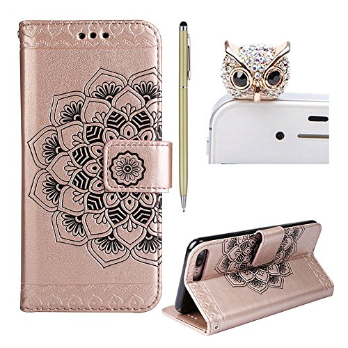 For Iphone 7 Plus Case For Iphone 7 Plus Retro Floral Flip Wallet Skyxd Elegant Solid Color Embossed Mandala Flower Folio Bookstyle Pu Leather For Iphone 7 Plus  Stylus   Dust Plug Rose Gold
