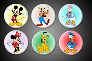 Disney Mickey Mouse Magnets and Gang set of 6 1 inch round Mickey Mouse Minnie Mouse Donald Duck Goofy Daisy Pluto - for fridge lockers magnet boards...