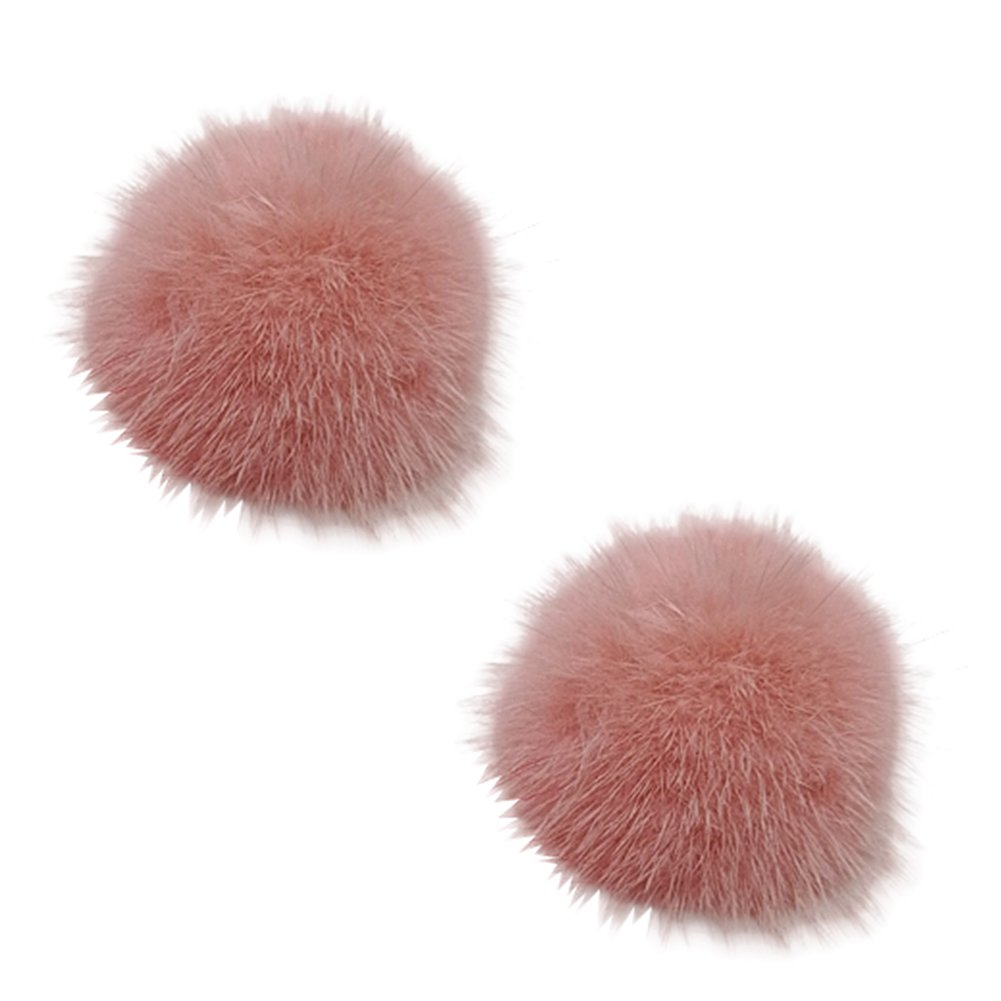L'vow Women' Fluffy Mink Fur Pom Removable Shoe Clips Clutch Wedding Decoration Pack of 2 (Pink)