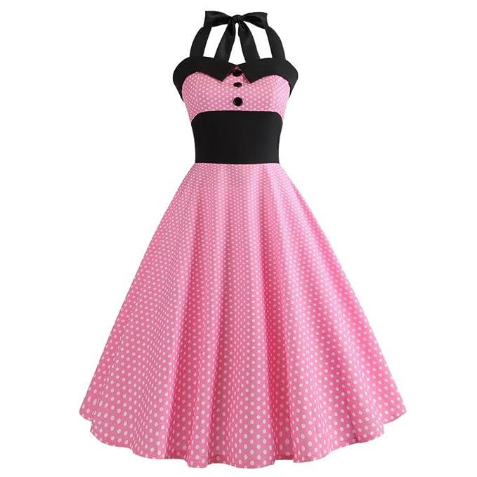 SANFASHION Bekleidung - Vestido - Trapecio - Sin Mangas - para Mujer Rosa Small