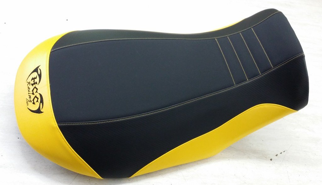 84a90a6a257e Amazon.com  Hidden Comfort Camo Can Am Renegade 800 seat Cover - Black  Gripper Black Carbon Upper Sides Yellow Back and Lower Sides Yellow Stitch  Logo in ...
