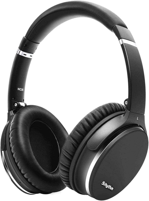 Plegable Auriculares Inalámbricos con Cancelación de Ruido Bluetooth 5.0,Srhythm NC35 ANC Over-Ear con Tipo-C Carga Rápida CVC8.0 Mic,Llamada de Voz,Mega Bass,40+ Horas de Tiempo de Juego