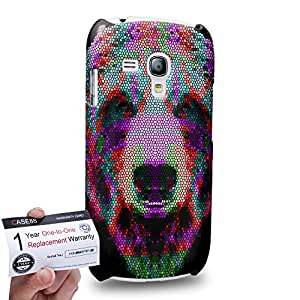 Case88 [Samsung Galaxy S3 Mini] 3D Printed Snap-on Hard Case & Warranty Card - Art Aztec Design Bear Red and Green Animal Faces