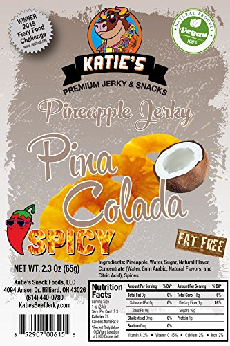 Spicy Pina Colada Pineapple Vegan Jerky (3 Pack) (Dried Fruit) All Natural NO Sulfur Dioxide!