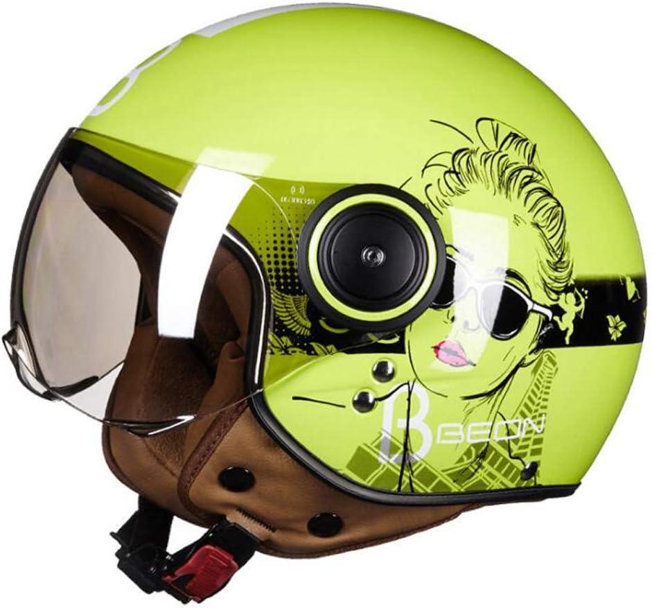 TKUI Casco de Moto Abierto Ajustable con Visera Casco de Protector