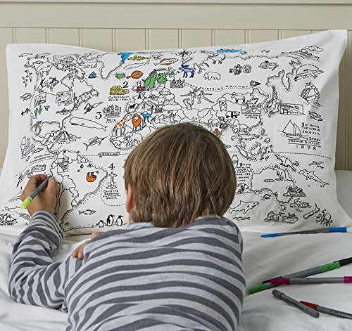 Doodle World Map Pillowcase, Color Your Own Pillow Case, Coloring Pillowcase with 10 Washable Fabric Markers (Map Kit)