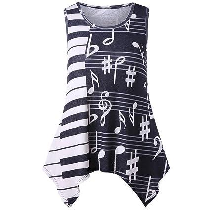 Camiseta con estampado musical Diadia para mujer, diseño de blusa con elementos musicales, sexy