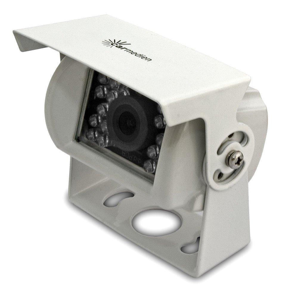 Cámara de marcha atrás con sensor de imagen mejorado, ángulo de detección de 120° y 18 diodos infrarrojos para el apoyo de visión nocturna, Color blanco Acero Inoxidable