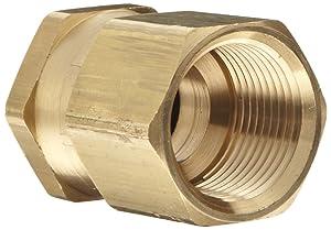 "Dixon Valve & Coupling BAS976 Brass Fitting, Swivel Adapter, 3/4"" GHT Female x 3/4"" NPTF Female"