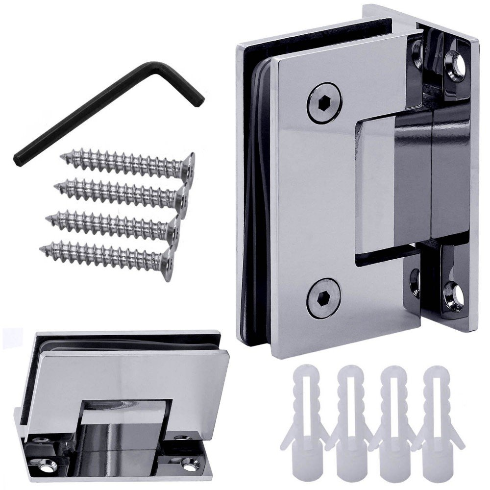1 Stainless Steel Glass Door Hinge Bathroom Shower Cabin Mounted Wall to Glass Screws 90° Shiny Glossy + Equipment tumundo