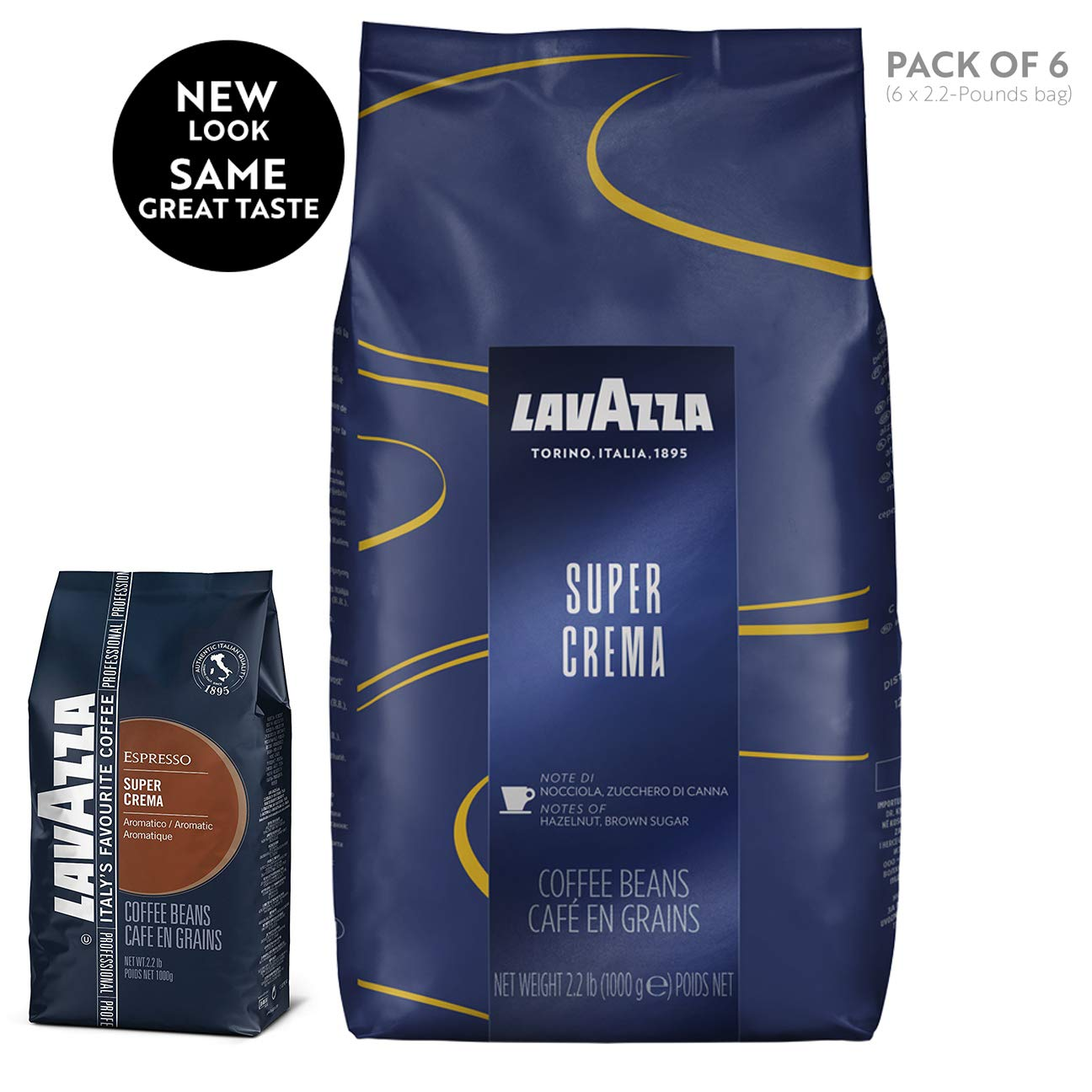 Lavazza Super Crema Whole Bean Coffee Blend, Medium Espresso Roast, 35.2 Ounce, Pack of 6 by Lavazza