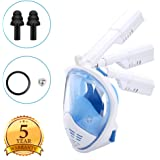 Elecguru Snorkel Mask Full Face 180°Panoramic View [2018 Latest Version] Foldable Snorkeling Mask with Detachable GoPro Camera Mount and Dry top Anti-Fog Leak-Proof for Adult, Youth