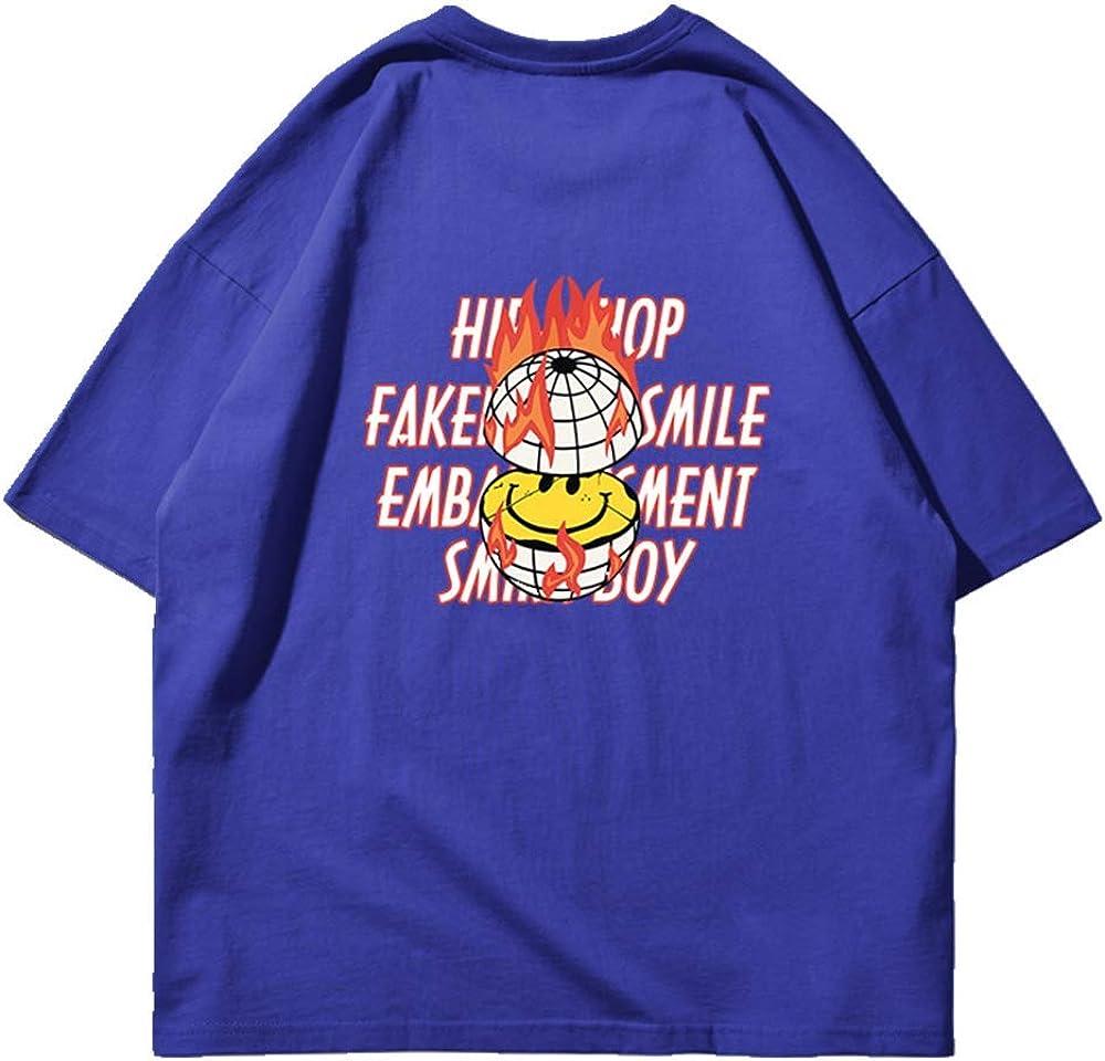 NOBRAND Street Camiseta de manga corta para hombre con diseño de llamas sonriente y hombros descubiertos de algodón suelto Hip Hop