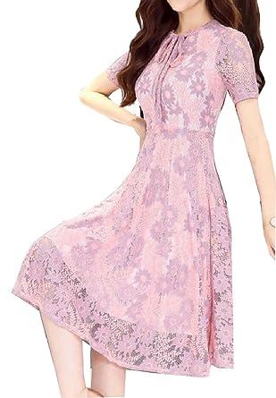 560deb6c0f7 GAGA Women s Dress Elegant Short Sleeve Bridesmaid Dress Floral Lace Dresses  1 XS