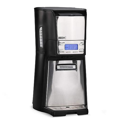 Cafetera de filtro de Beem 1410SR, 1030 W, función de filtro permanente, dispensador, depósito ISO, de acero inoxidable