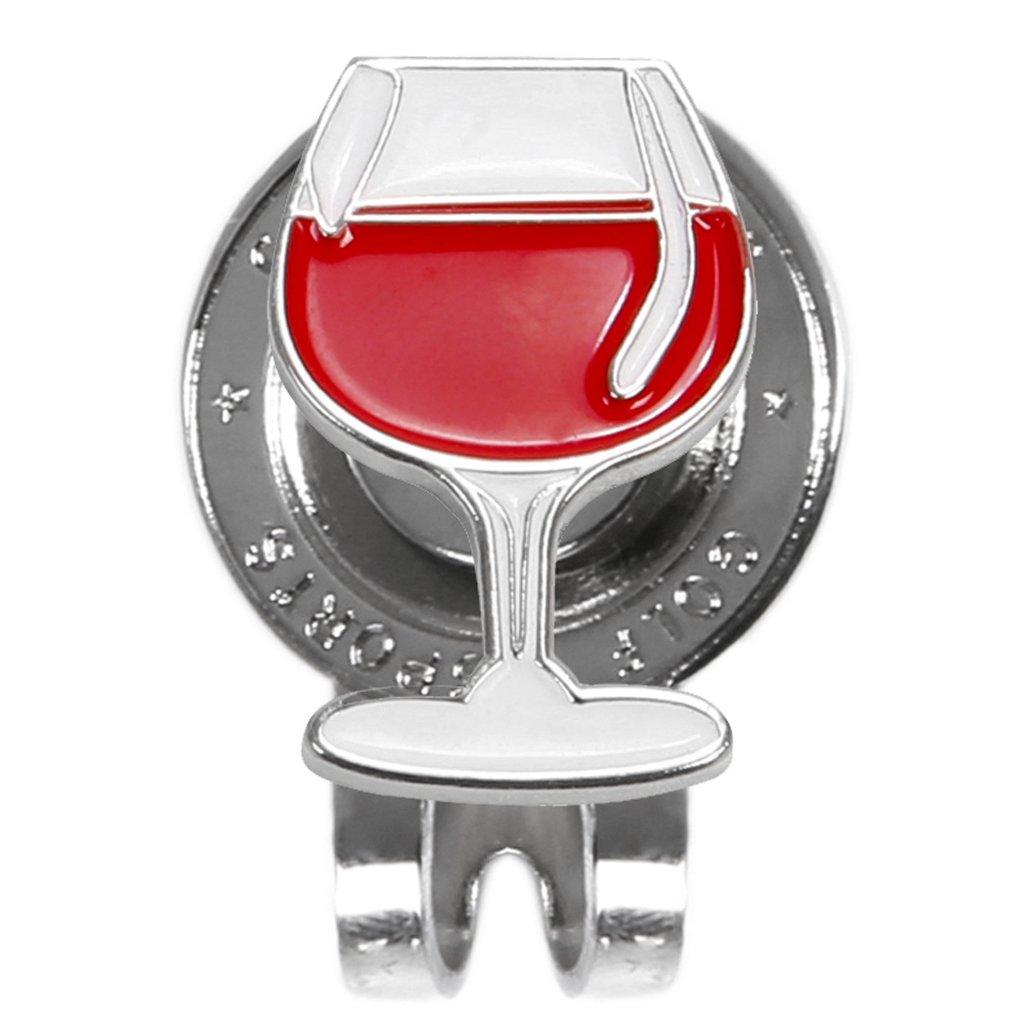 Sprinzレッドワインガラスメタルゴルフボールマーカーwith Magnetic帽子キャップクリップアクセサリー(レッド)   B07FMJH3CD