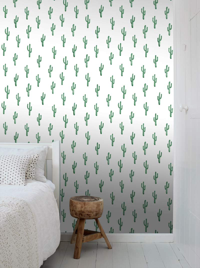 papel pintado peque/ño cactus del desierto verde selva tropical de ESTAhome.nl 138899