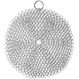 Efaithtek Cast Iron Cleaner -8x8 inch Large Premium 316L Stainless Steel Chainmail Scrubber