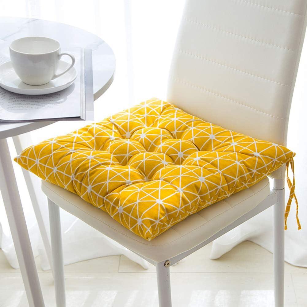 1.8*1.8ft Tessuto HomeMiYN con lacci Yellow per sedie da cucina Tatami Cuscino per sedia da giardino morbido e spesso 55*55cm