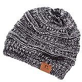 Slouchy Beanie Acrylic Cuff Cap Winter Hat Women Ponytail Hole Ski Knit Warm Cap