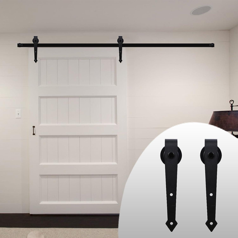 LWZH 6.6FT/200cm Herraje para Puerta Corredera Kit de Accesorios para Puertas Correderas,Negro A-Forma: Amazon.es: Bricolaje y herramientas