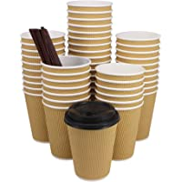 ZMYBCPACK HotPaper Coffee Cups with Travel Lids Disposable Paper Cups for Coffee, Tea, Hot or Cold Beverage