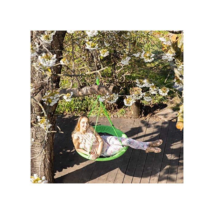 61WoEp6SBTL Columpio jardín exterior: este columpio redondo es perfecto para el jardín, la terraza, de camping e interiores Características: silla colgante amarilla con 110 cm de diámetro; apto para niños a partir de 3 años Ajustable: la altura de la cuerda del columpio infantil exterior se puede regular aprox; de 85 a 150 cm