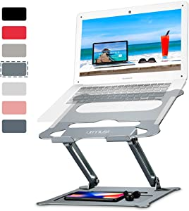 """Urmust Laptop Notebook Stand Holder, Ergonomic Adjustable Ultrabook Stand Riser Portable with Mouse Pad Compatible with MacBook Air Pro, Dell, HP, Lenovo Light Weight Aluminum Up to 15.6""""(Bluish Gray)"""