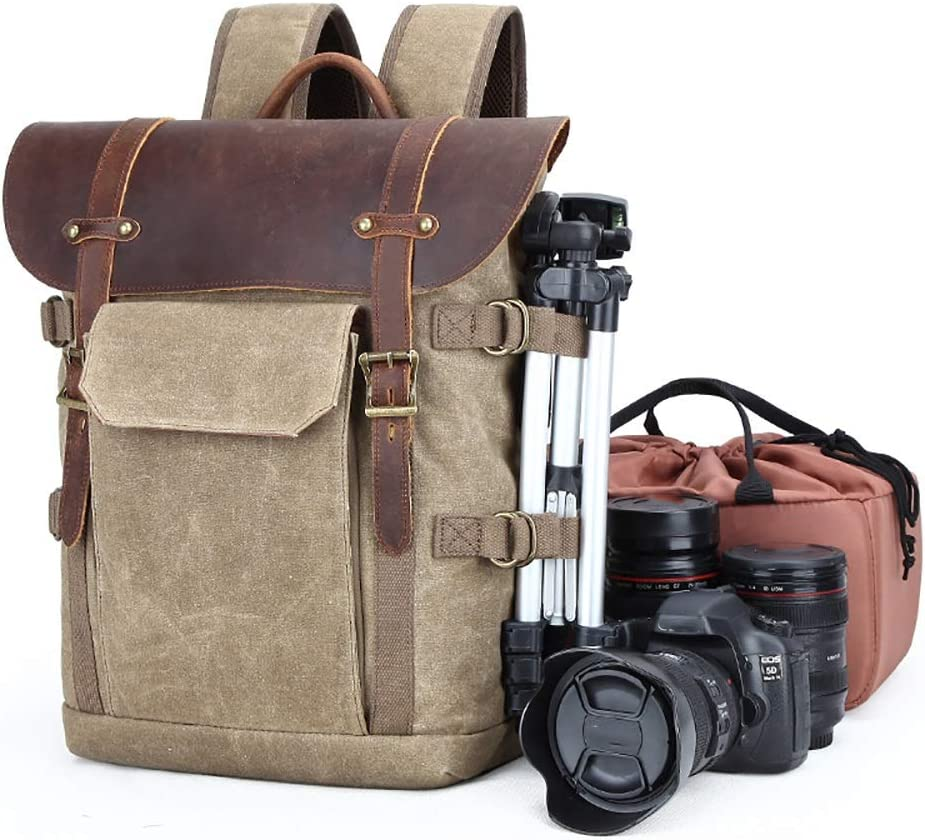LORGDFDF Double Shoulder Camera Bag SLR Camera Bag Waterproof Batik Canvas Retro Fashion Digital Camera Backpack Outdoor Business Trip Very Practical Gift Color : Khaki
