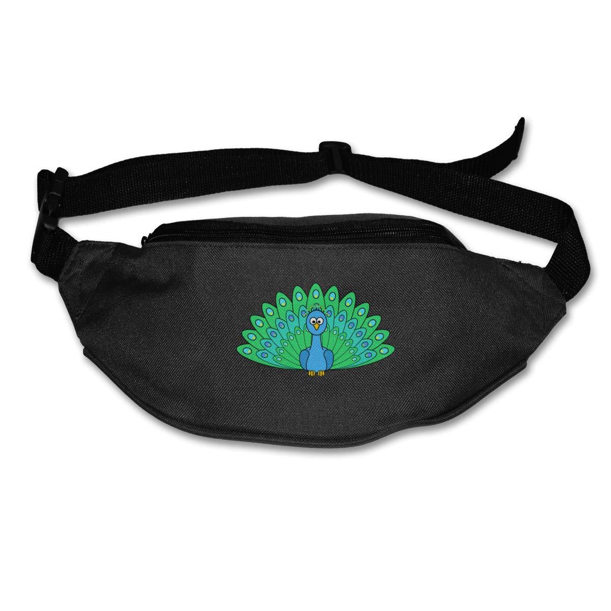 Cartoon Peacock Sport Waist Packs Fanny Pack Adjustable For Travel