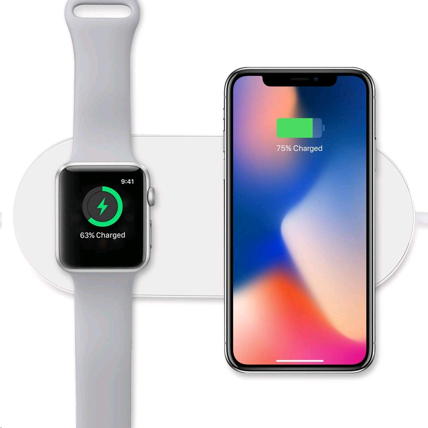 cheap for discount 7d60a 14445 Wireless Inductive Charger for iPhone 8/8 Plus/X/XR/XS and Apple Watch  1/2/3 Compatible Wireless Chargers, Fast inductive Charger for Samsung  Galaxy ...