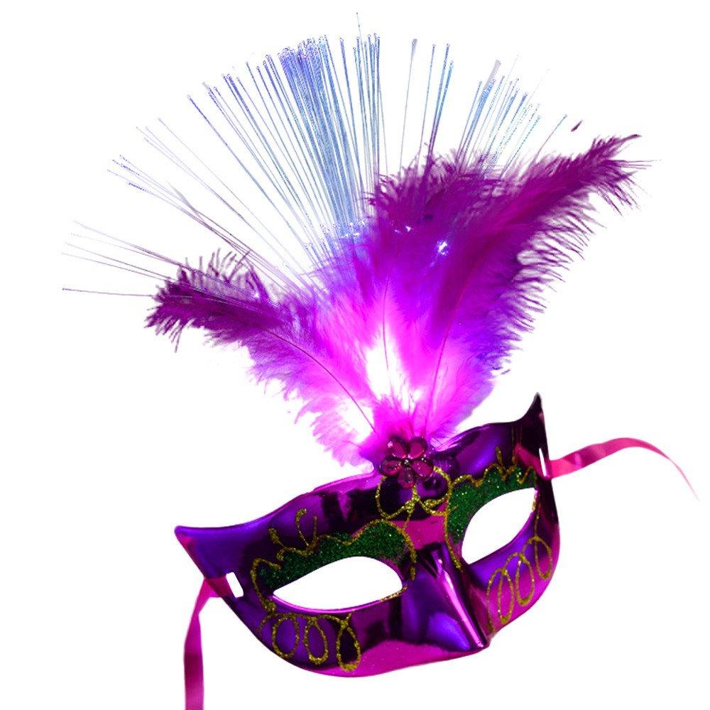 Aobiny Halloween Women Glowing Masks, Venetian LED Fiber Mask Glowing Masquerade Party Princess Feather Masks (Hot Pink)