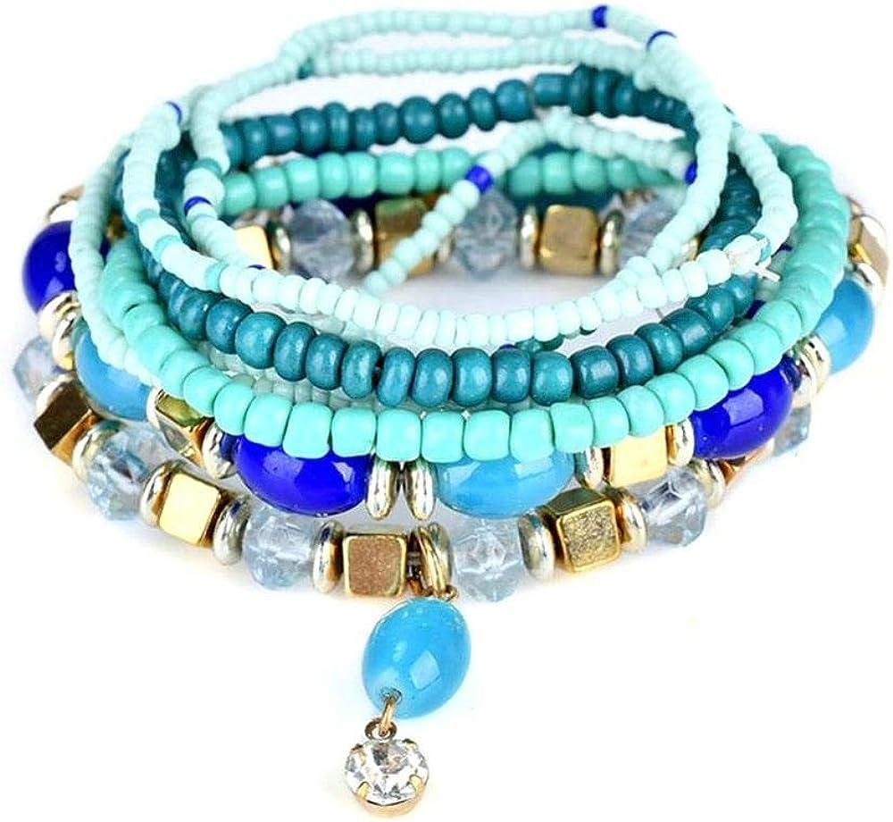 Pulsera Bohemia de Perlas para Mujer, diseño Multicapa, Pulsera de aleación, Pulsera con Colgante de Piedras Preciosas, Joya