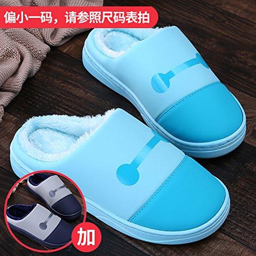 LaxBa Femmes Hommes chauds dhiver Chaussons peluche antiglisse intérieur Cotton-Padded Slipper Chaussures bleu + bleu foncé36/37 + 44/45