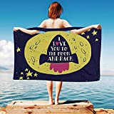 iPrint Love-Decor Quick Dry Plush Microfiber (Towel+Square scarf+Bath towel) Rocket-Goes-to-the-Space-I-Love-You-to-the-Moon-and-Back-Quote-Stars-Solar-Cute-Design And Adapt to any place