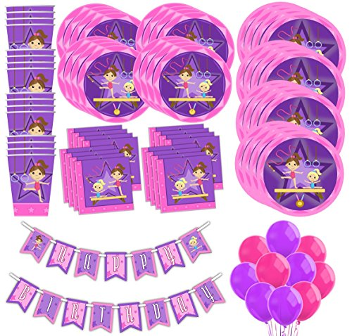 Gymnastics Star Birthday Party Supplies MEGA Set Plates Napkins Cups Tableware Balloons Banner Kit for 16