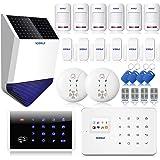 KERUI G18 Kit Alarme Maison sans Fil Appel 99Zones Antivol Sécurité Téléphonique GSM + Sirène Extérieure Solaire