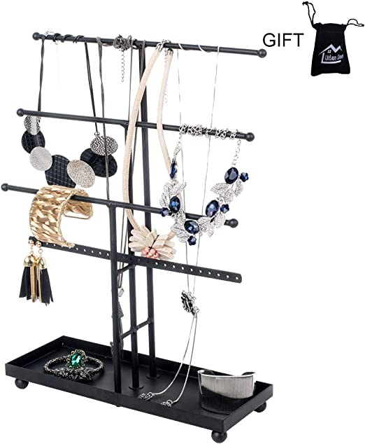Amazon Com Urban Deco Jewelry Organizer Stand 4 Tier Necklace Holder With Base Tray 26 Holes For Pierced Earrings For Girls And Women To Organize Necklace Earring Bracelet Ring Watch And Hair
