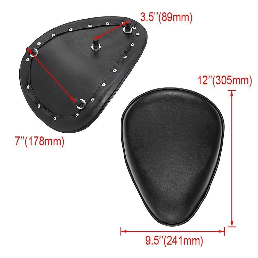 Black Leather Solo Seat 3 Spring Mounting Bracket Kit For Honda Yamaha Kawasaki Suzuki Sportster Bobber Chopper