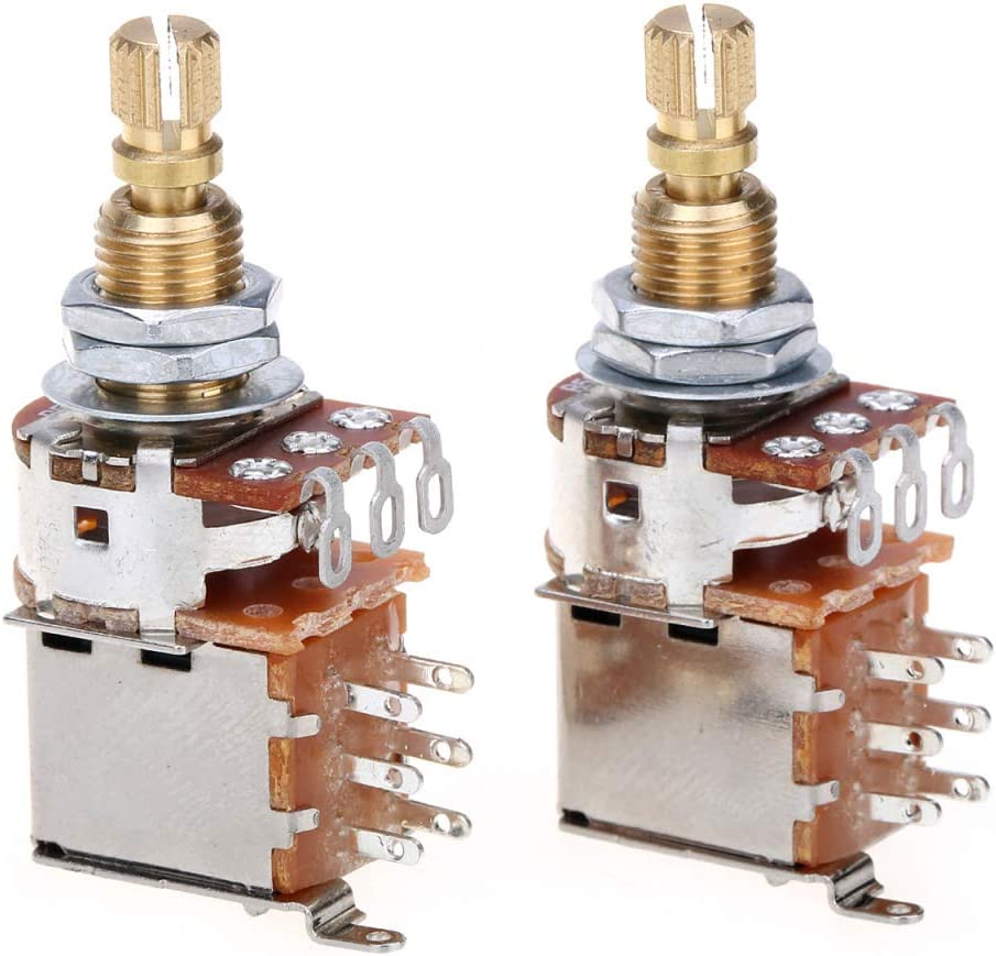 Musiclily Pro Laiton Full Taille M/étrique Split Shaft Control Pots A250K Potentiom/ètres Push//Push Audio Taper pour Guitare Lot de 2
