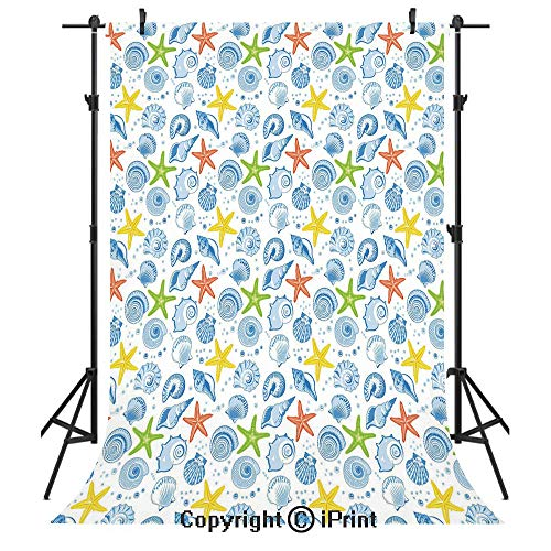 Nautical Decor Photography Backdrops,Marine Themed Starfish Mollusk Coral Reef Shells Oyster Underwater Design,Birthday Party Seamless Photo Studio Booth Background Banner 6x9ft,Blue Yellow ()