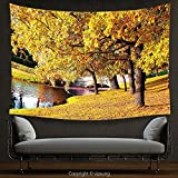 House Decor Tapestry Nature by Beautiful Autumn Forest in City Park Saint Petersburg Russia Rural Scenic Yellow Brown Green Wall Hanging for Bedroom Living Room Dorm