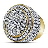 TVS-JEWELS Men's Hip Hop All Around CZ Double Round Pinky Ring With 14k Gold Plated Sterling Silver (11.5)