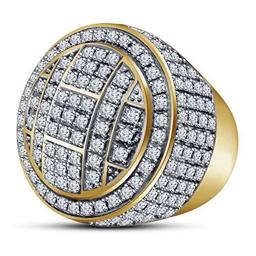 TVS-JEWELS Men's Hip Hop All Around CZ Double Round Pinky Ring With 14k Gold Plated Sterling Silver (11.5) by TVS-JEWELS